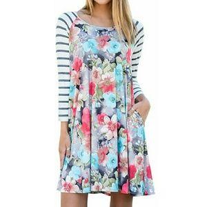 Dresses & Skirts - New Floral Stripe Pocket Knit Swing Dress XL
